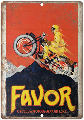 """Vintage Favor Motorcycle Poster Grand Luxe 10"""" x 7"""" Reproduction Metal Sign F02"""