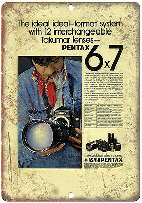 "Pentax 35mm Film 6x7 Format System 10"" x 7"" Retro Look Metal Sign"