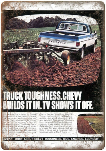 """Chevy Truck TV Shows It Off Farm Equipment 10"""" x 7"""" Reproduction Metal Sign"""