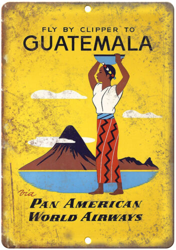 """Guatemala Airline Vintage Travel Ad 10"""" x 7"""" Reproduction Metal Sign T152"""