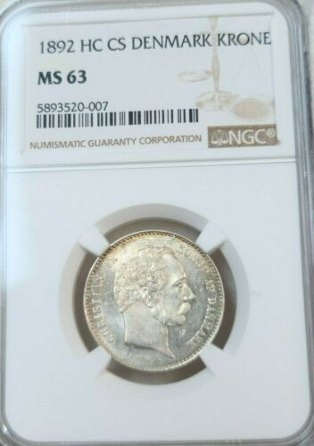 1892 DENMARK SILVER 1 KRONE CHRISTIAN IX NGC MS 63 BRIGHT LUSTER LOW MINTAGE