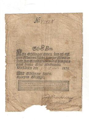 Schweden ,8 Schillingar Banco ,1838 Selten