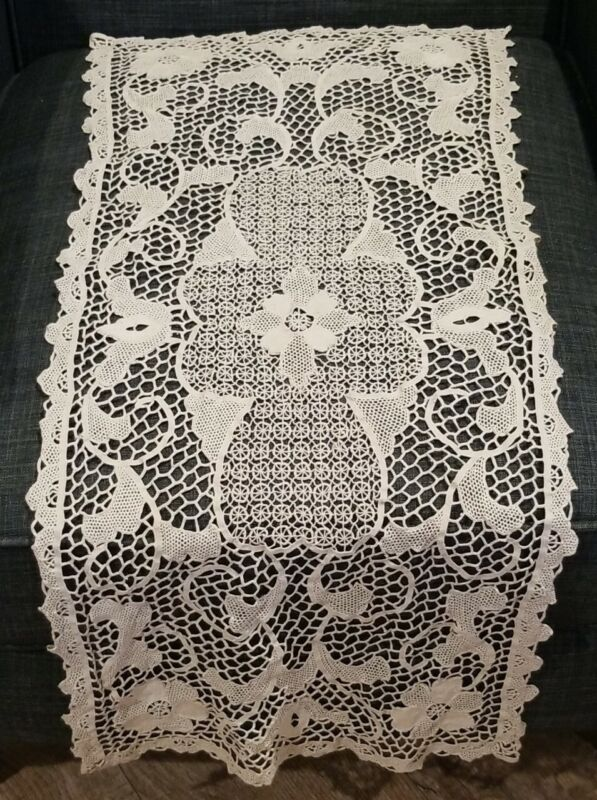 Antique Vintage Hand Made Lace Crochet Table Runner Furniture Decoration 14x32""