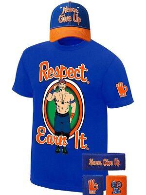 John Cena Respect Earn It WWE Baseball Hat Headband Wristbands Costume T-shirt](Wwe Costume)