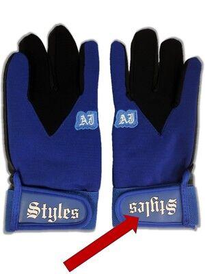 DEFECTIVE * AJ Styles Blue Pro Wrestling Fight Gloves