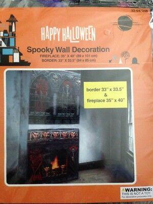 "Halloween Wall Decoration Fireplace and Border Vampires 35"" X 40"" & 33"" X 33.5""  - Border Halloween"