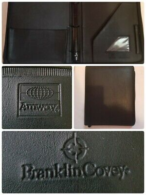 Vintage Franklin Covey Amway 3 Ring Black Binder 1 12 Inch Rings Zip Around