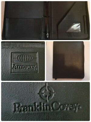 Vintage Franklin Covey Amway 3 Ring Black Binder 1 12 Inch Rings Zip Around