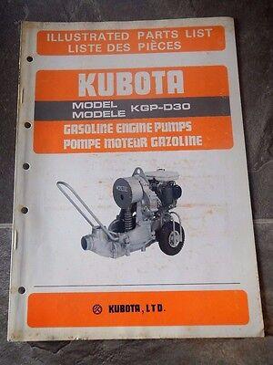 Used Kubota Illustrated Parts List Model Kgp-d30 Gas Engine Pumps