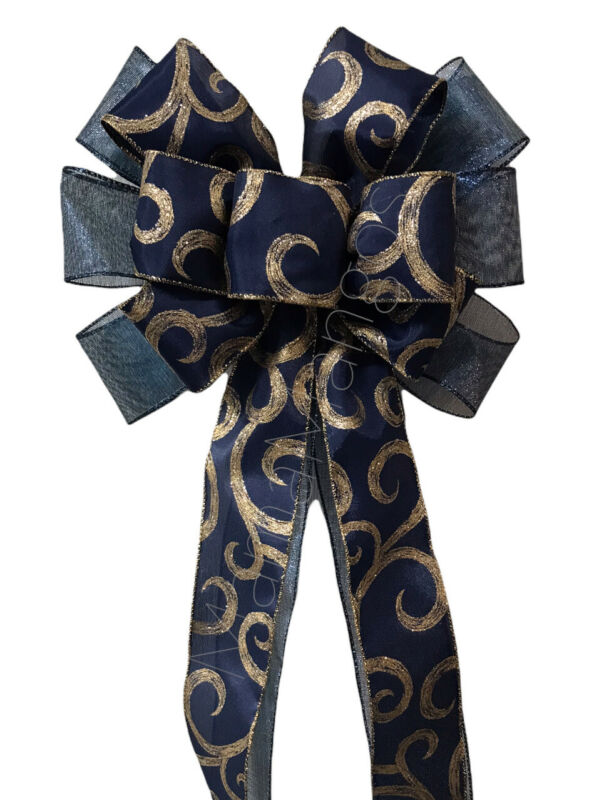 Navy With Gold Swirls Handmade Wire Edge Bow for Wreaths Lanterns Swags