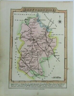 Antique map of Bedfordshire by William Lewis 1819