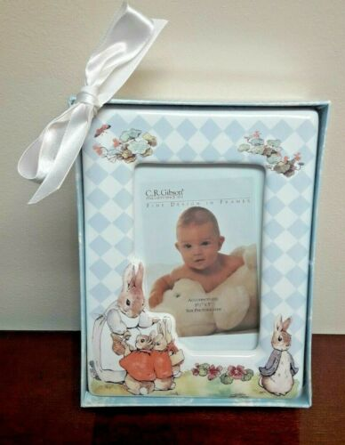 New - CR Gibson Beatrix Potter 3-1/2 x 5 Picture Frame Peter Rabbit Ceramic