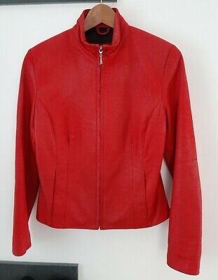 Very Good Condition 1990s Vintage Lakeland Ladies Red Leather Jacket Size 10