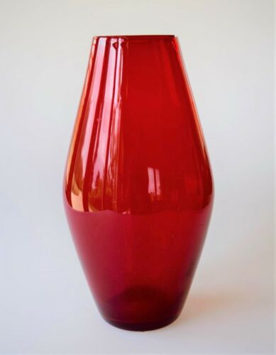 "WHITEFRIARS GEOFFREY BAXTER RUBY BARREL SHAPED VASE No 9596  Height 9.25"" POWELL"