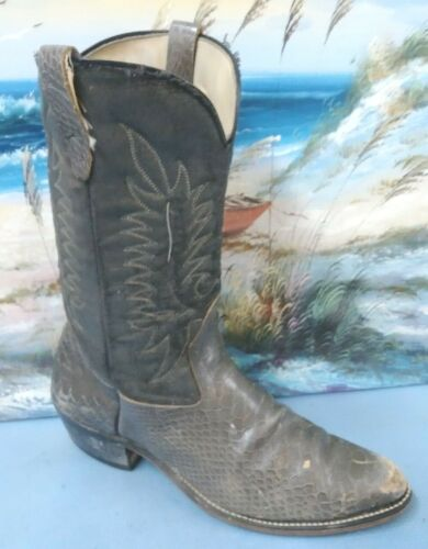 BILTRITE, MENS, GRAY, SNAKESKIN, , LEATHER, COWBOY, WESTERN, , BOOTS, SIZE, 9.5, , , 55