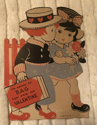1930s Handbags and Purses Fashion VTG 1930's BAG YOU FOR MY VALENTINE BOY & GIRL CARD ~ LARGE 7.25