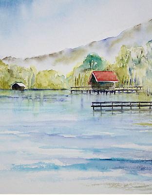 Haus am See, Aquarell von Künstlerin 22x30cm groß
