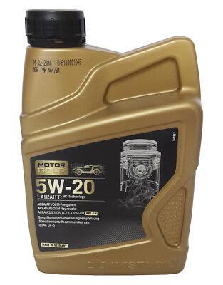 Motoröl 4,50€/L 1 Liter Motor Gold® Extratec SAE 5W-20 PKW Motorenöl Öl  (Pkw-motoren)