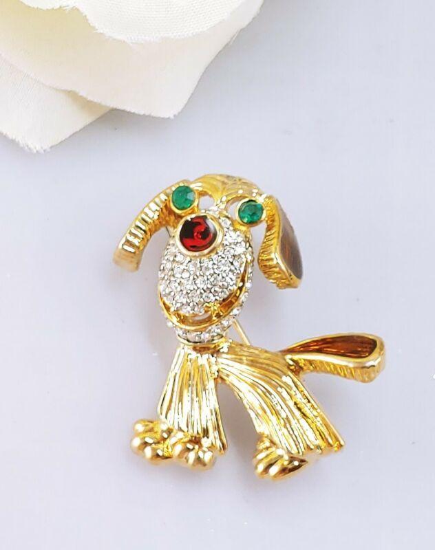 Vintage puppy dog brooch pin rhinestone enamel red nose gold tone green eyes