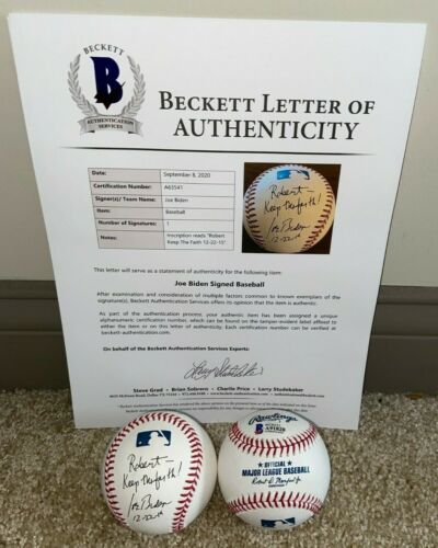 VICE PRESIDENT JOE BIDEN SIGNED OFFICIAL MLB BASEBALL 2020 46 BARACK OBAMA BAS
