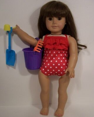 RED SwimSuit Beach Pail Toys Doll Clothes For 18