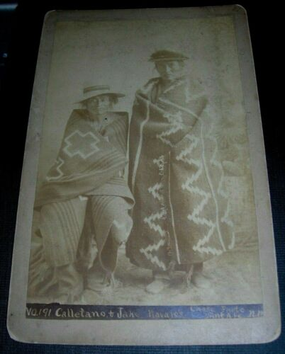 1880 Albumen Cabinet Card D. B. Chase Photograph Navajos In Wearing Blankets #1