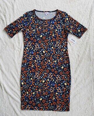 LulaRoe Julia Thanksgiving Floral Harvest Dress Navy Orange - Thanksgiving Dress