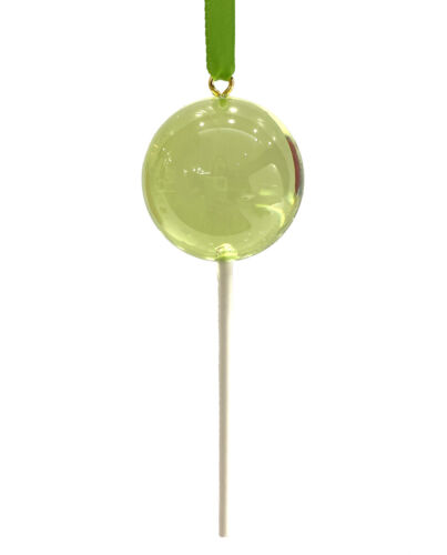 CLEAR Pale Green Candy Lollipop Christmas Ornament Pick Prop Easter