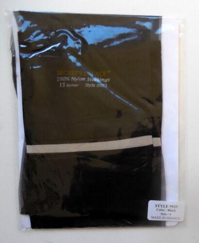 "1 Pair Secrets in Lace 9925 Small Celine RHT Sheer ""Black"" Nylon Stockings New"