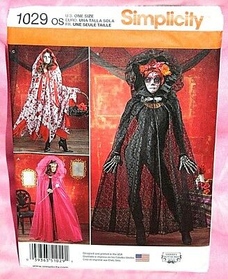 Uncut Simplicity Misses Hooded Cape Costume Pattern 1029 Day of the Dead Cosplay
