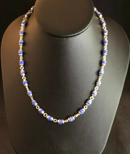 """VTG Sterling Silver Necklace Blue Cats Eye Bead Ball Chain 18.25"""" 25g 925 #1535"""