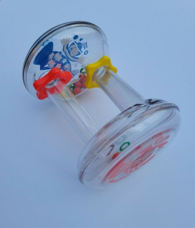 Vtg Johnson And Johnson Baby Rattle Clowns Red Blue Yellow Spiral