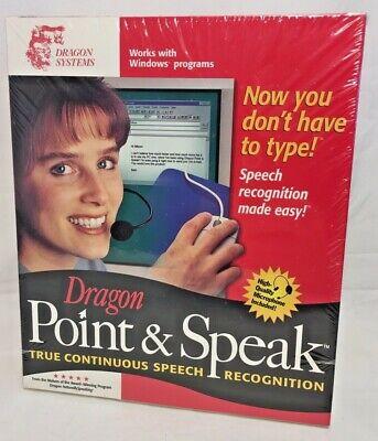 Dragon Point & Speak 3.0 w Microphone Voice Speech Recognition Sealed Windows 98 Microphone Voice Recognition Software