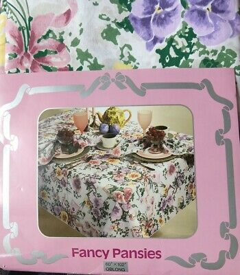 "Fancy Table Cloth (VTG BARDWIL Linens FANCY PANSIES  Floral FABRIC TABLECLOTH 60"" X 102"")"