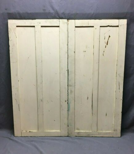 Antique Pair Chestnut 20x41 Cabinet Pantry Cupboard 2 Panel Doors VTG 299-20B