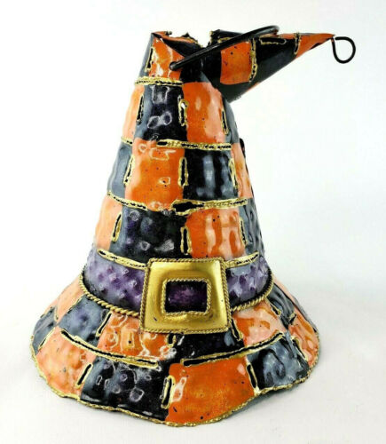Halloween Tin Witch Hat Orange & Purple Tealight Candle Holder NEW