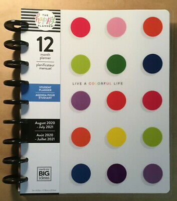 New 2020-2021 The Happy Planner Classic Colorful Life Student Planner 12 Month