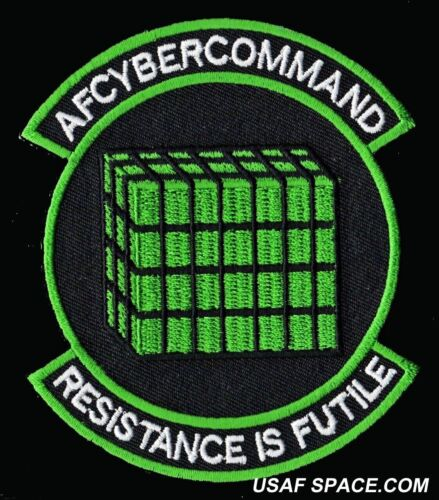 USAF AF CYBER COMMAND - RESISTANCE IS FUTILE - MILITARY PATCH - MINT