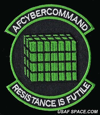 USAF AFCYBER COMMAND - RESISTANCE IS FUTILE - MILITARY PATCH - MINT *****