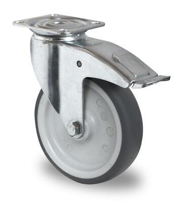 Apparaterolle Gummi grau spurlos 100 mm Anschraubplatte mit Feststeller Rolle