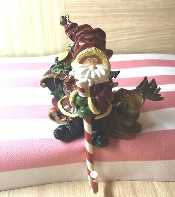 Santa Claus Candy Cane Reindeer Sled with Presents Figurine Christmas Pre-owned