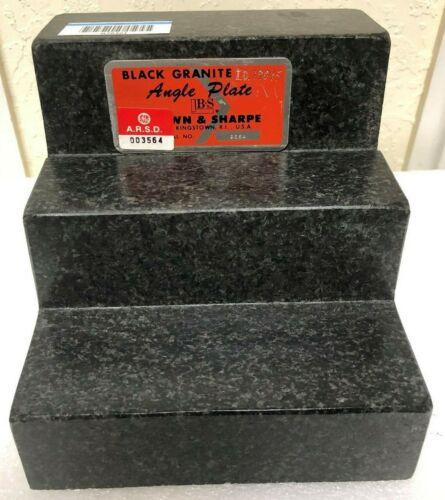 "Brown & Sharpe Black Granite Angle Plate Surface Step Plate 6"" X 6.2"" X 6"" -Used"