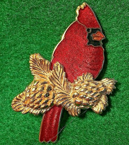 """Vintage Signed """"W"""" Red Guilloche Enamel CARDINAL Pin Brooch"""
