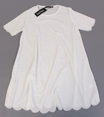 Boohoo Women's Plus Crew Neck Scallop Edge Shift Dress MC7 Ivory Size US:12 NWT