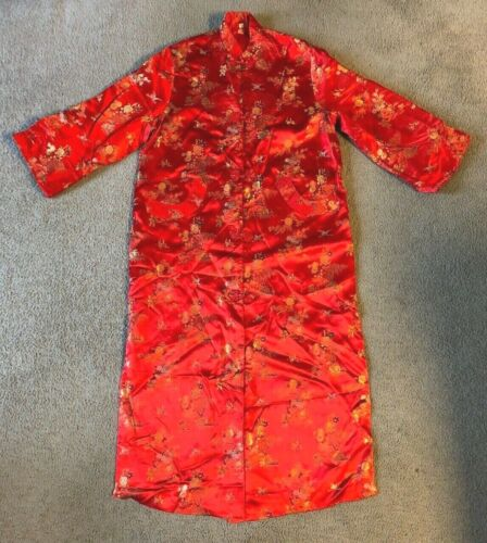 Embroidered Red Floral Print Chinese Kimono Silk Robe - Size 44