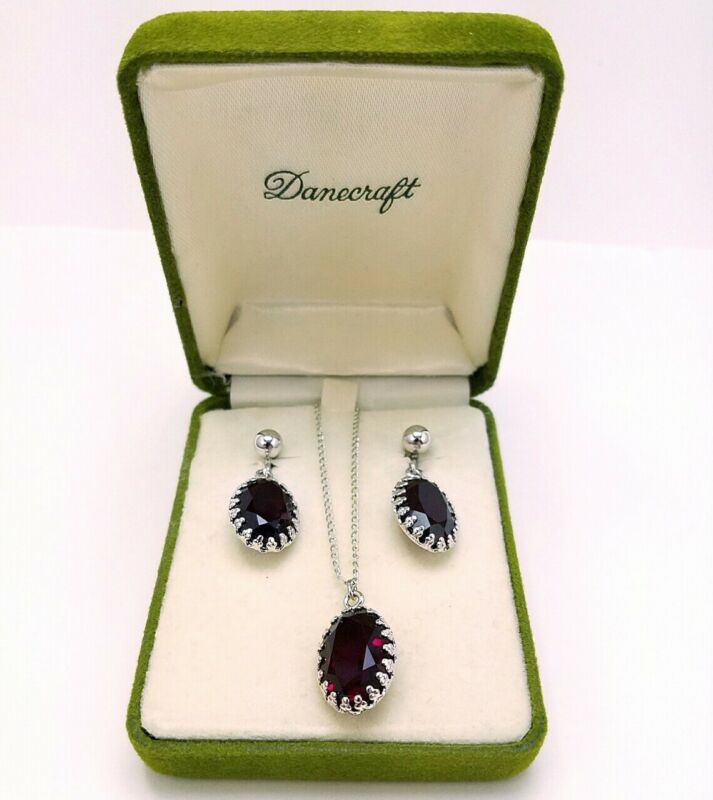 Danecraft Sterling Silver Necklace Earrings Set Screw Back Glass Ruby Faceted