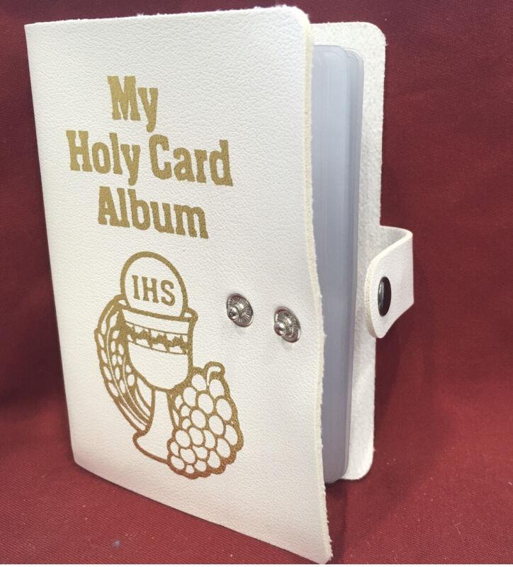 My Holy Card Album ISH White Leatherette Prayer Card Holder