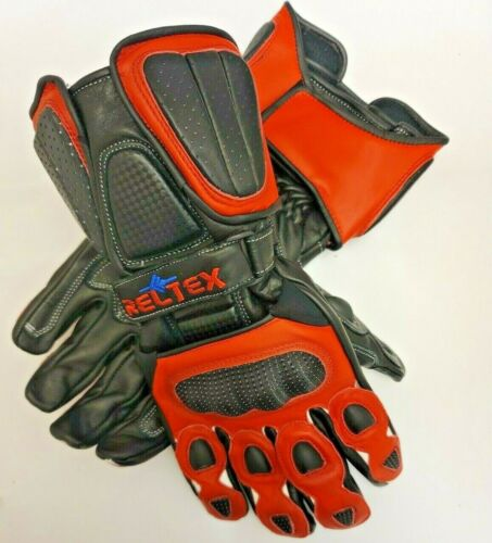 RELTEX+RED+Pro+Vented+Sports+Biker+CE+Leather+Motorbike+Motorcycle+Gloves+SMALL