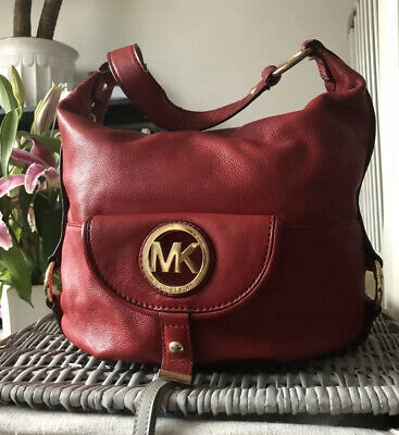 GENUINE MICHAEL KORS SHOULDER BAG Red PEBBLED LEATHER Handbag