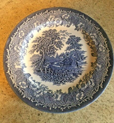"""English Ironstone Kingswood Blue Dinner Plates - (6) -  10 1/2""""  - Excellent"""